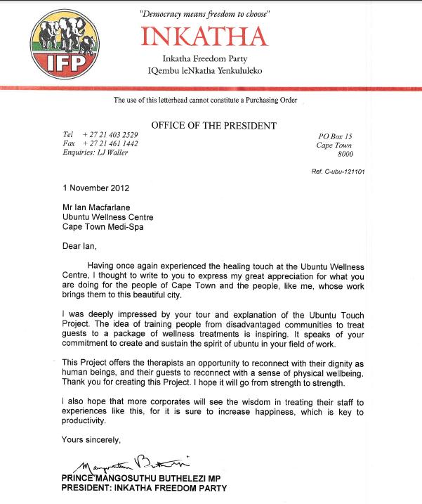 Letter from Prince Mangosuthu Buthelezi